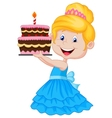 Little girl cartoon with birthday cake vector