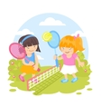 Girls playing tennis vector