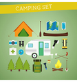 Bright cartoon camping equipment icon set in vector