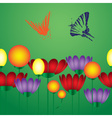 Flowers and butterfly eps10 vector