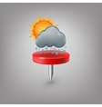 Red pin icon weather cloud sun snow vector