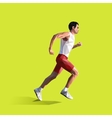 Polygonal running man geometric vector