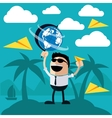 Happy man stands on island of palm trees vector