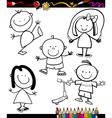 Happy kids cartoon coloring book vector