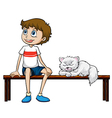 A smiling boy and cat sitting on a bench vector