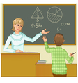 Teacher at blackboard asks children eps10 vector
