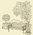 Bench under blooming lilac bush vector