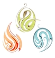 Nature elements fire water plant as emblems vector
