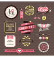 Wedding and valentines day elements frames vintage vector