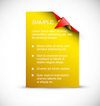 Yellow card with origami corner vector