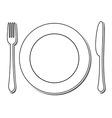 Icon of plate fork and knife vector