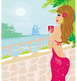 Girl on vacation drinking a red wine vector