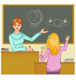 Teacher at blackboard asks children vector