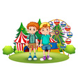 Two boys in front of the carnival vector
