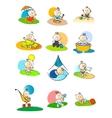 Set of small babies enjoying various activities vector