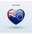 Love cook islands symbol heart flag icon vector