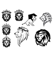 Black and white heraldic lions vector