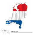 Map of netherlands with flag vector