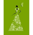 Fashion girl silhouette in wedding dress for your vector