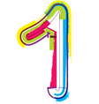 Colorful grunge font number 1 vector