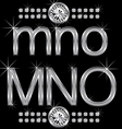 Thin metal diamond letters and numbers big and sma vector