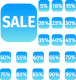 Blue icon set with sale concept and percentage vector