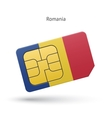 Romania mobile phone sim card with flag vector