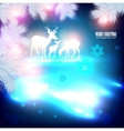 Blue beautiful christmas background with reindeer vector