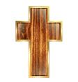 Wooden cross in golden frame vector