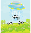 Alien cow abduction vector