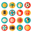 Flat design long shadow summer season icon set vector