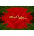 Christmas fir frame red background vector