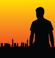 Man and the city vector