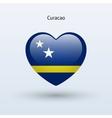 Love curacao symbol heart flag icon vector