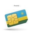 Rwanda mobile phone sim card with flag vector