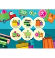 Internet shopping process and delivery icons vector