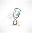 Cartoon microphone grunge icon vector