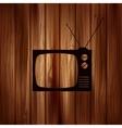 Retro tv icon wooden background vector