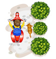 A topview of a boy riding a motorcyle vector