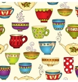 Seamless tea pattern with doodle teapots and cups vector