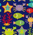 Seamless pattern with marine animals on a dark vector