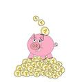 Piggy bank - doodle vector