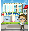 A doctor in front of the hospital vector