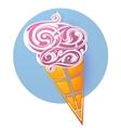 Ice cream icon shaped from decorative swirls vector