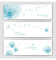 Set of banners with flower dandelion sketch vector