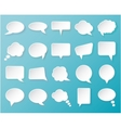 Shiny white paper bubbles for speech on an blue vector