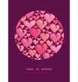 Red valentines day hearts circle decor pattern vector