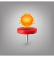 Red pin icon weather sun vector
