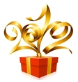 Golden ribbon and gift box vector