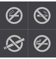 Black no smoking icons set vector
